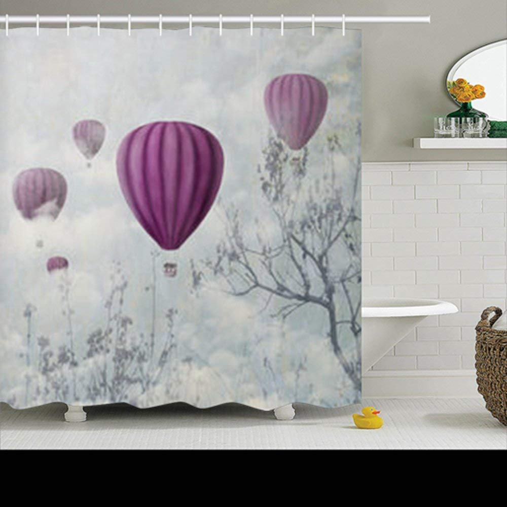 Get Quotations · Shower Curtains Fantasy Artistic Image Pink Hot Air  Balloons Painting 72Wx72L Inches Home Decorative Waterproof Polyester