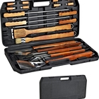 Amazon Top Barbecue Grill Set Cleaning Brush Private Label BBQ Tool Box Grill Tongs Portable Tools Box Set Large 18 BBQ kits
