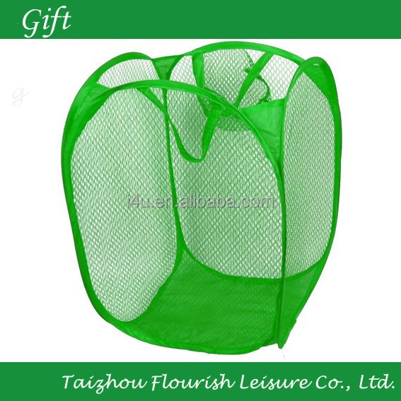 Pop-Open Light Duty Hamper Easy Carry Mesh Hamper 14x14x22