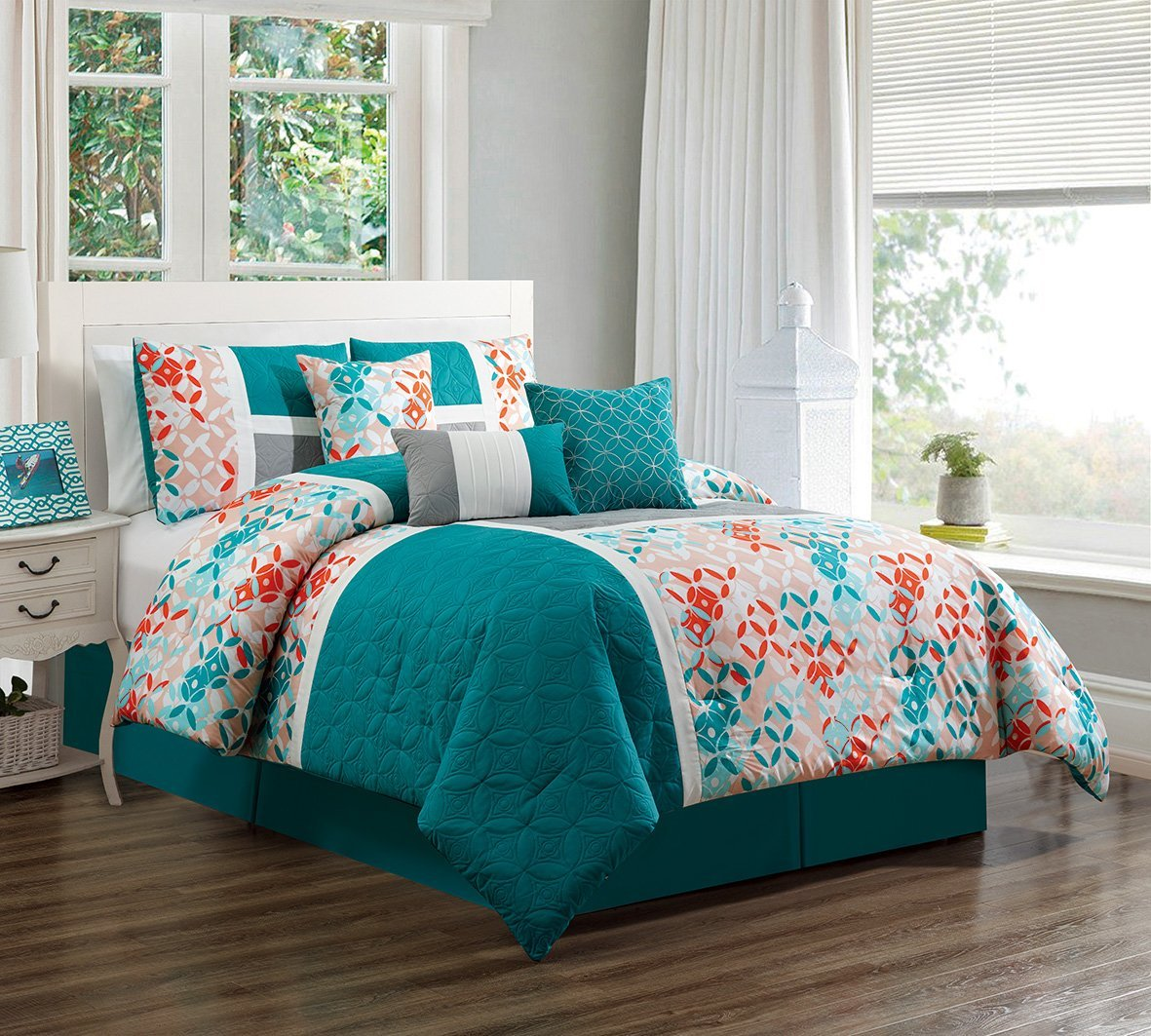 Buy 7 Piece Turquoise Blue Orange Grey Patchwork Bed In A Bag Microfiber Comforter Set California Cal King Size Bedding Perfect For Any Bed Room Or Guest Room In Cheap Price On Alibaba Com