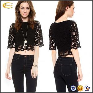 8c570e6b318 Ecoach 2016 summer new arrival fashion women s half sleeve black lace  korean Lace Crop Top