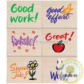 Custom Teacher Cartoon Rubber Stamp Set Pre Inked Reward