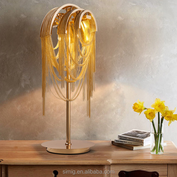 Luxury decorative gold Aluminum chain table lamp for living room bedroom