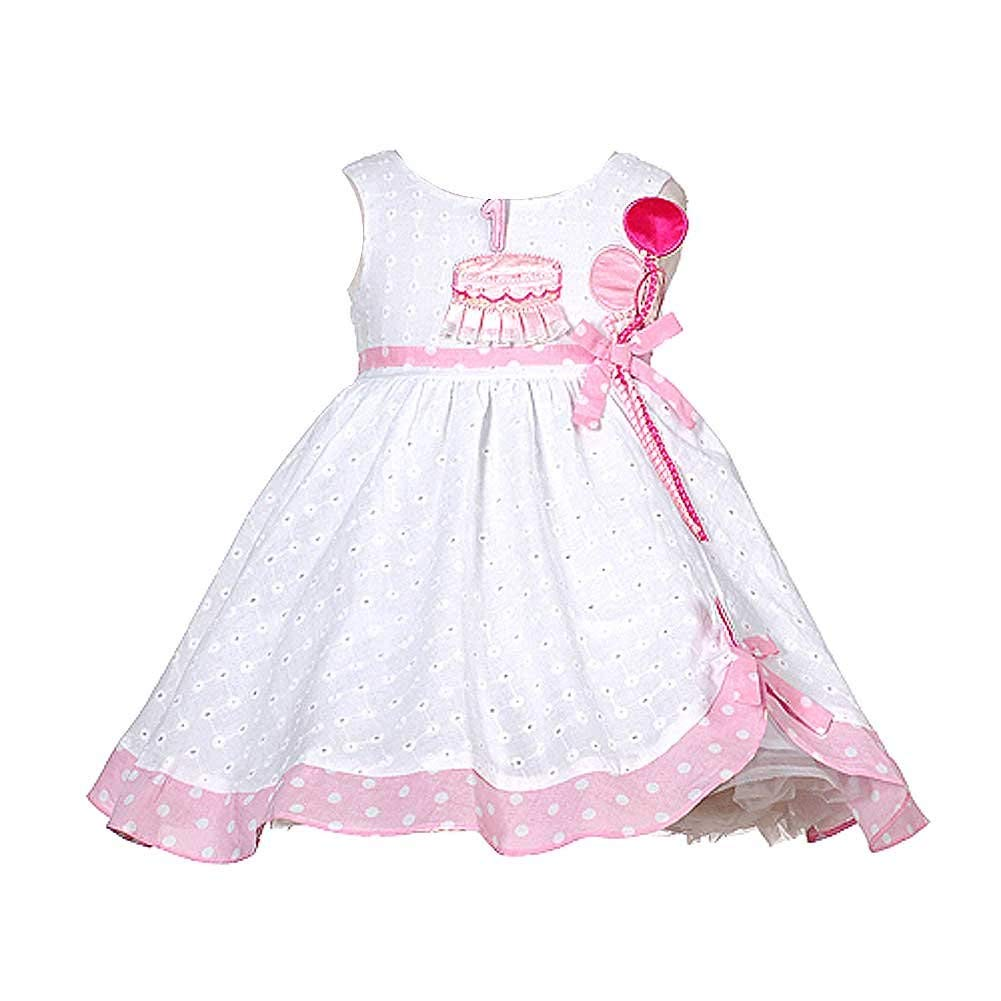 4e304aa7f250 Get Quotations · Baby Girls White Pink Balloon Boutique 1st Birthday Dress  12-24M