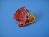 Ohio Region Glittering Epoxy Coated Dinosaur Fire Brooch Pin
