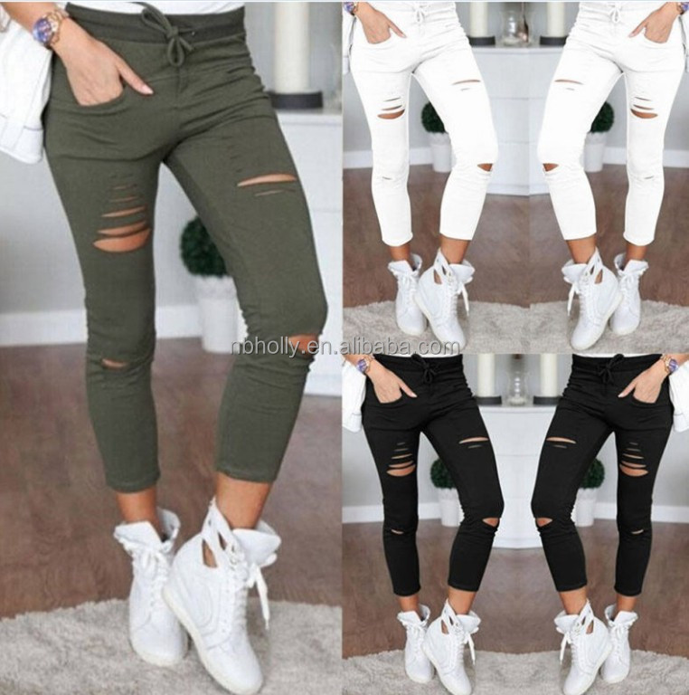Ninth pants Women causal holes trousers High stretch pants