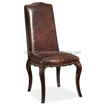 Antique Dark Brown Leather Upholstered Restaurant Dining Chair