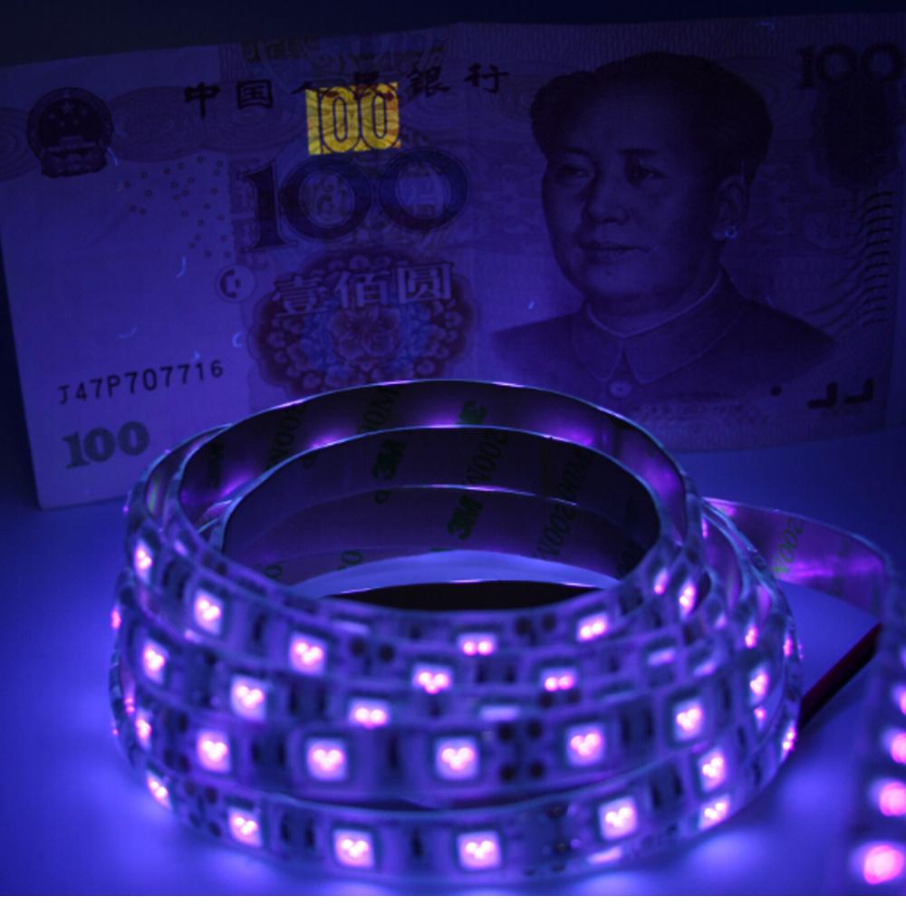 dc12v 1 5m uv black light led strip 5050 smd 60led m ip65 non waterproof ultraviolet ray purple. Black Bedroom Furniture Sets. Home Design Ideas
