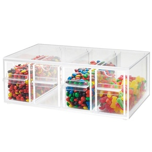 Hot Sale 4 Drawer Clear Acrylic Topping Candy Dispenser Acrylic Yogurt Topping Dispenser