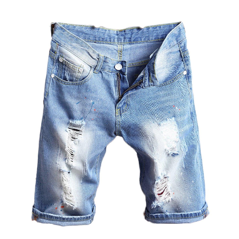 320d62b4ba Get Quotations · KNUS Ripped Jean Shorts, Men Distressed Straight Slim Fit  Elastic Denim Shorts with Holes -