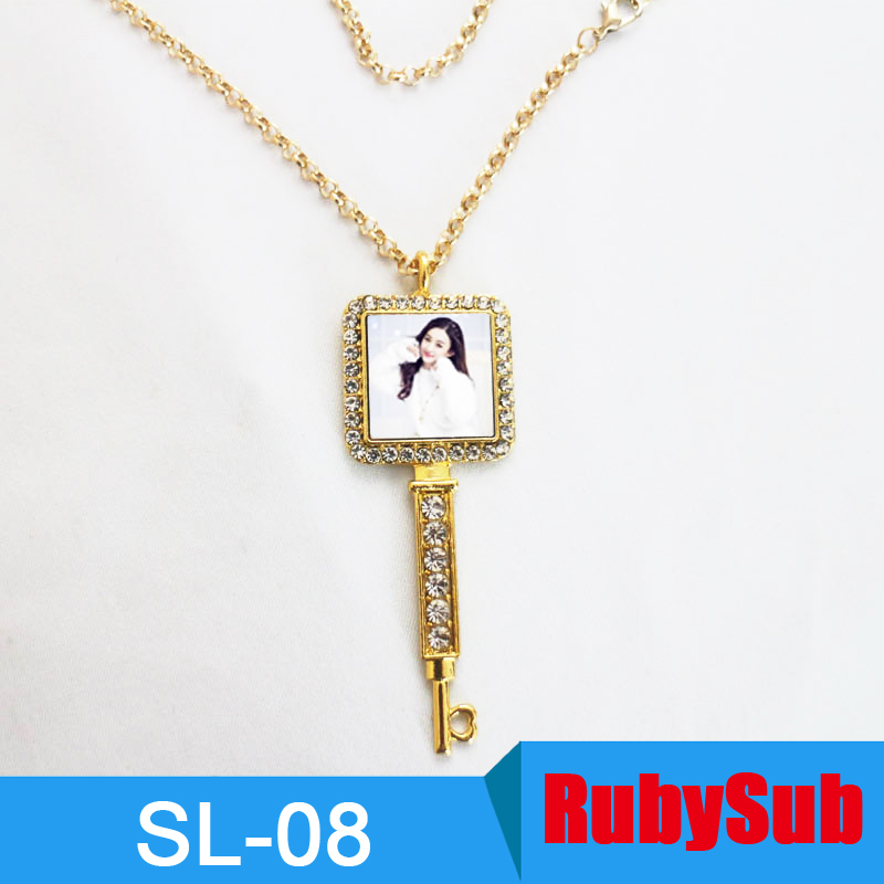 2017 New Design Gold Necklace Square Key Metal With Diamend ...
