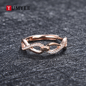 Guangzhou factory wholesale custom design 925 Sterling Silver ring jewelry fashion infinity shape Bridal Engagement Ring