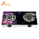 China Angel Brands Natural Tempered Glass Flat 2 Burner Table Top Gas Stove