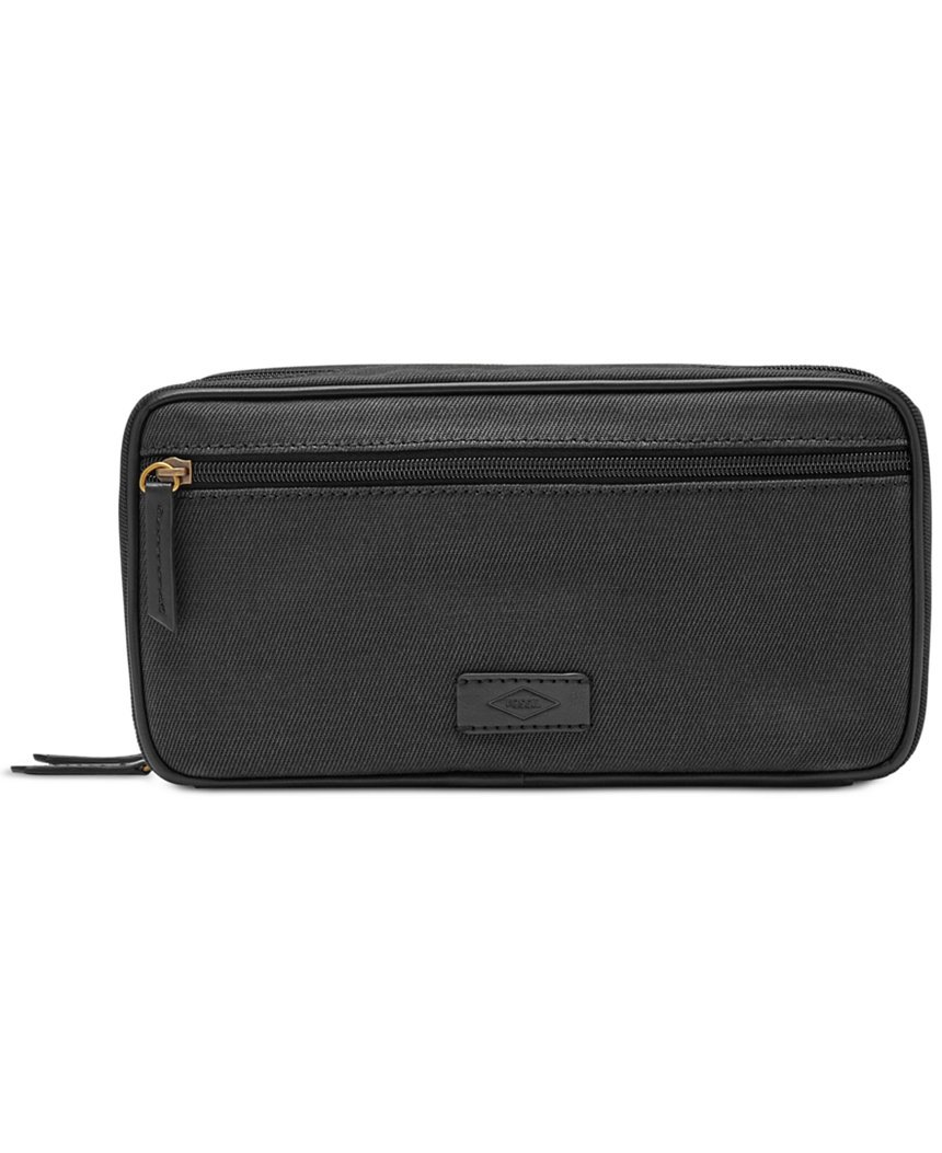 FOSSIL DOUBLE ZIP CANVAS TRAVEL SHAVE KIT TOILETRY BAG BLACK NEW NWT