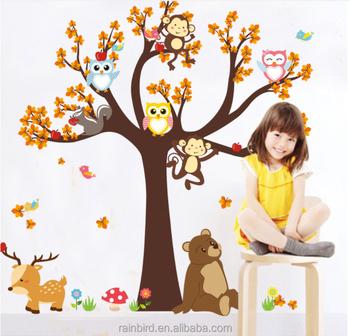 . Kids Bedroom Cartoon Tree Wall Stickers Children Girls Home Decals For  Nursery Kindergarten Animals Mural Arts Tree   Buy High Quality Tree Wall