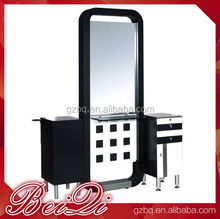 Double side elegant man barber shop cutting salon mirror,wholesale beauty furniture decorative makeup mirror station