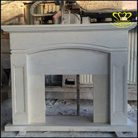 Indoor decorate White Marble Fireplace Surround Fire Mantel sculpture