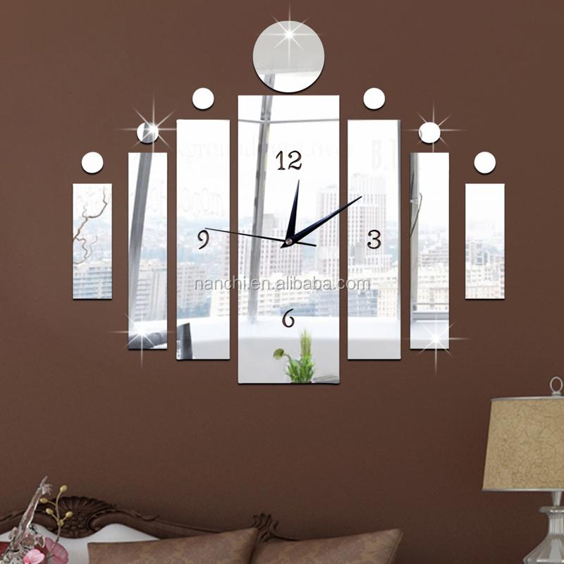 C rculo moderno y bar combinaci n mirror reloj de pared del dormitorio sala artes regalo nico - Relojes de salon modernos ...