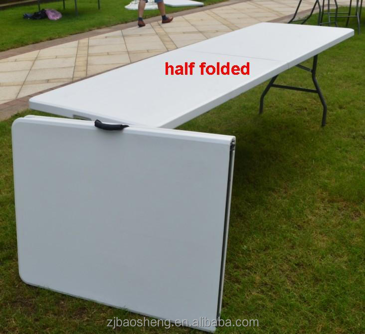 8 Person Rectangular White Plastic Folding Banquet Table For Event