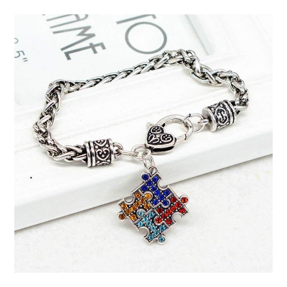 Get Quotations Us Er Autism Cuff Bracelet Charm Bangle Heart Puzzle Piece Pendant Chain