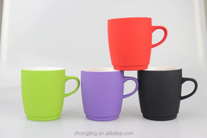 hot selling great design ceramic rubber coated coffee mug