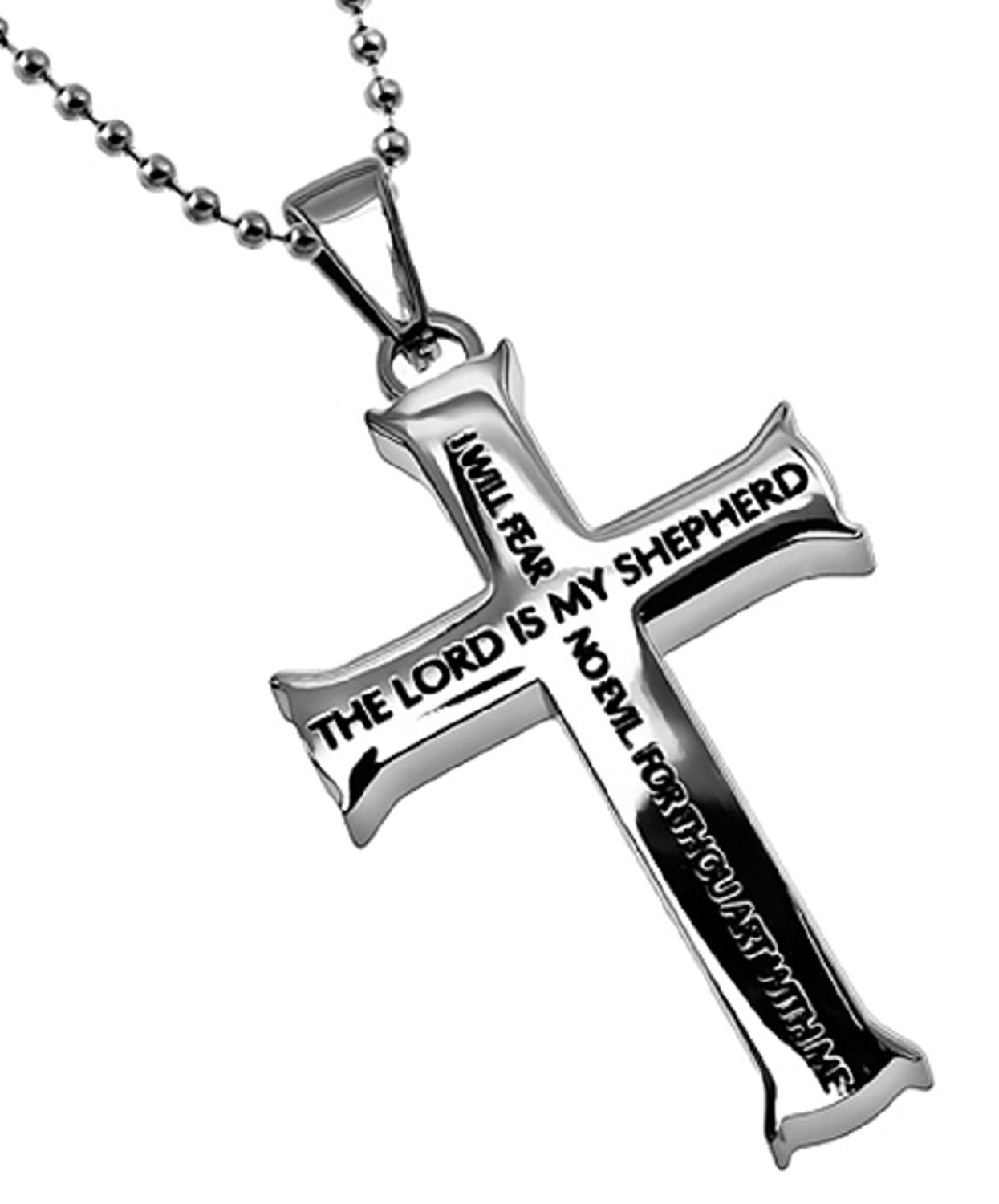 "Christian Mens Stainless Steel The Lord Is My Shepherd Psalm 23 Guys Christian Necklace - 24"" Ball Chain"