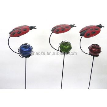Cheap Metal Garden Statues Animals Ladybug Decoration Iron Ladybug Garden  Stake Factory