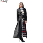 P-Healthy 2018 Muslim dress Islamic women new design plain polyester plaid abaya with hijab