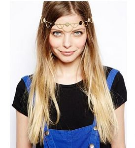 Wholesale bohemian gold plated head chain fashion wafer wave head band women wedding hair jewelry