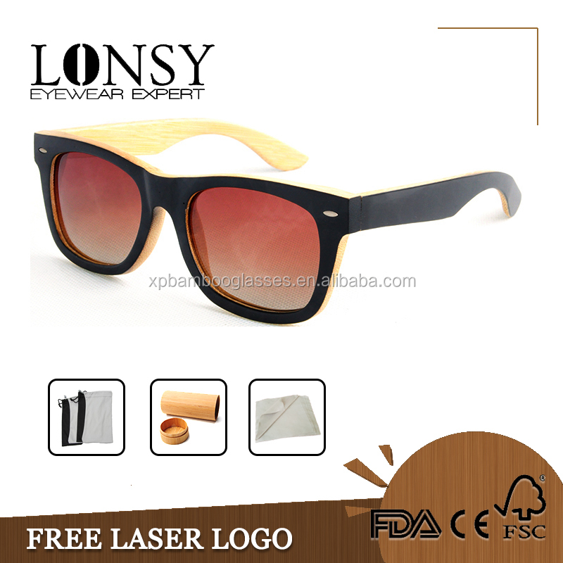 Handmade Bamboo Wood Sunglasses With Polarized Ray A Ban Lens LS1001-C14