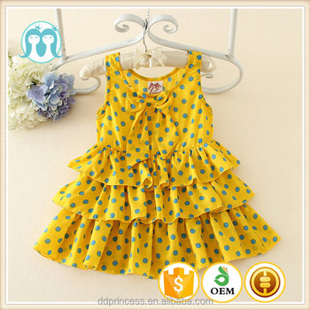 f5bb1bf1fe Cheap Summer Baby Girl Dress Lovely Dot Party Dresses Sleeveless Yellow  Fancy Wholesale Dress Casual Girls Clothes - Buy Designer Baby Clothes ...