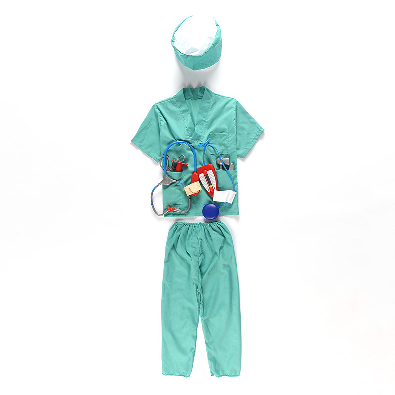 kids carnival doctor coat cosplay costumes with tool sets