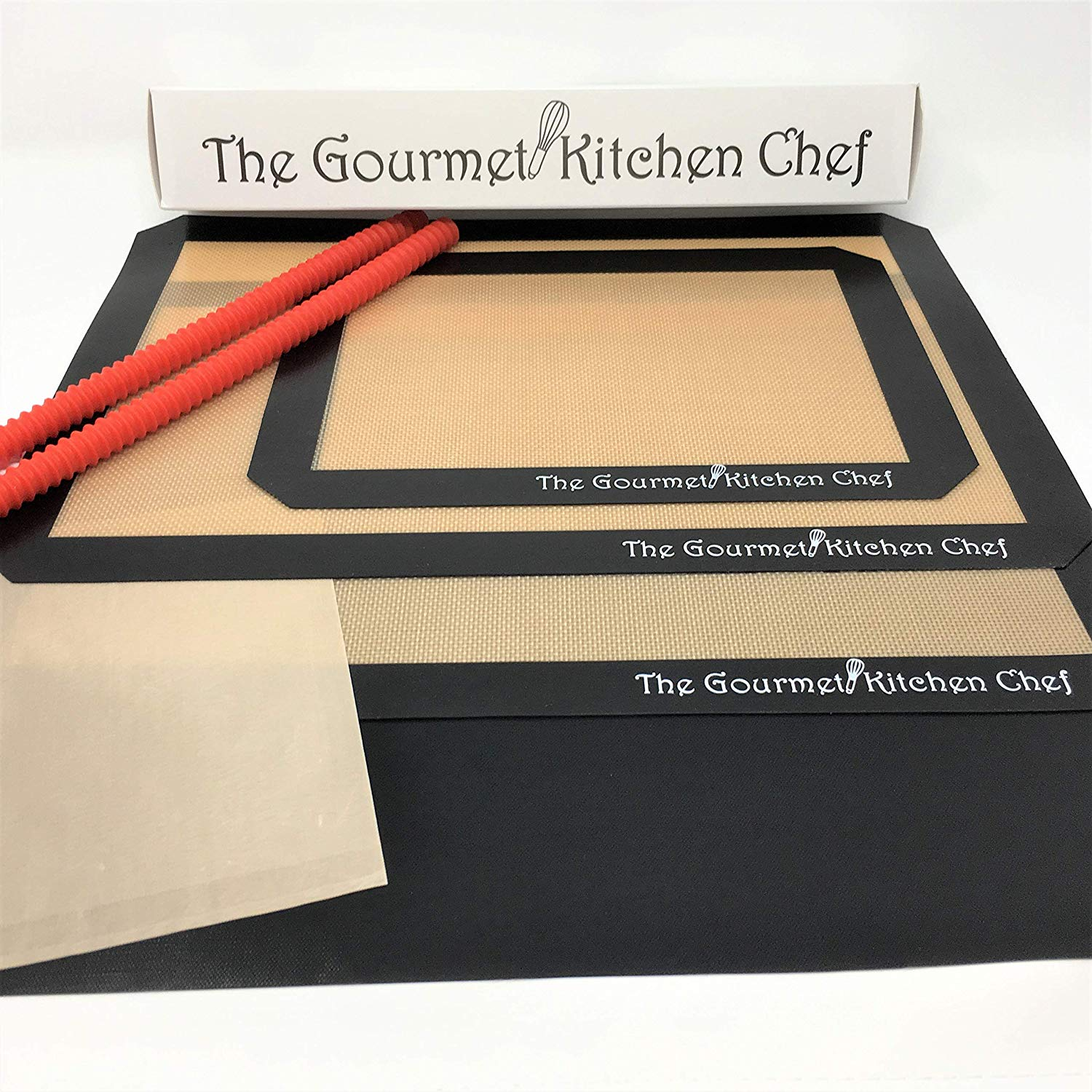 2 Thick Non-Stick Heat Resistant Half Sheet Silicone Baking Mats - 1 Thick Non-Stick Quarter Sheet Silicone Baking Mat - 1 Premium Oven Liner - 1 Toaster Bag - 2 piece set Silicone Oven Rack Guards