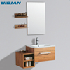 Modern Hinged Vanity Mirror Wall Mounted Two Shelves with Side Cabinet Solid Oak Wood Bathroom Cabinet