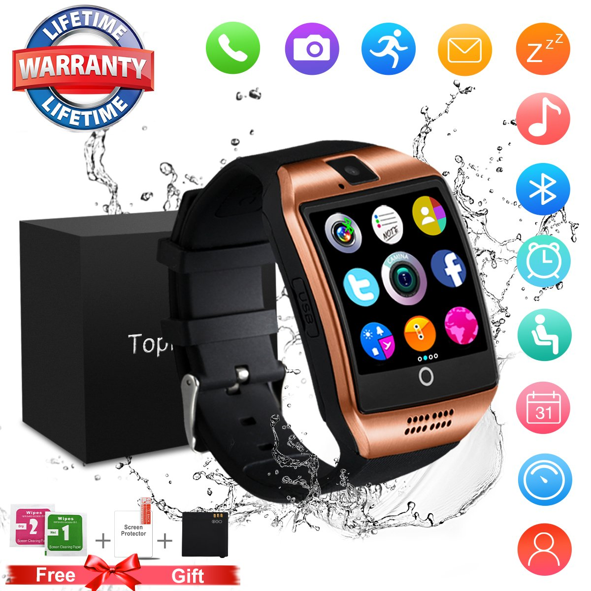 Topffy Smart Watch,Bluetooth Smart Watch Touchscreen With Camera,Waterproof Touch Screen Cell Phone Smartwatch Sport with SIM Card Slot for Android Samsung IOS iPhone 8 X Men Women (Watch-X6-Black)