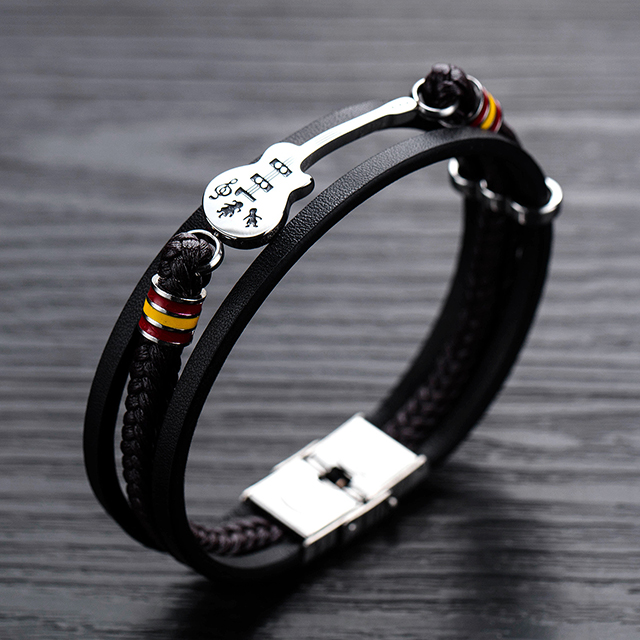 Fashion new arrival handmade stainless steel charm bracelets men leather bracelets 2019 Jewelry