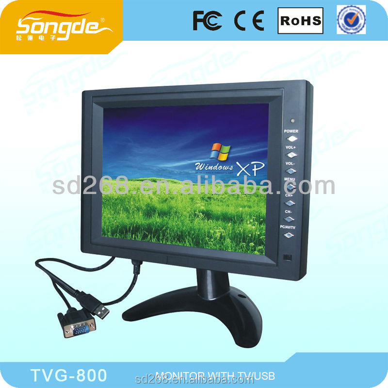 GuangZhou NEW arrival black 8 inch TFT car LCD TV/PC Monitor with VGA/TV/AV
