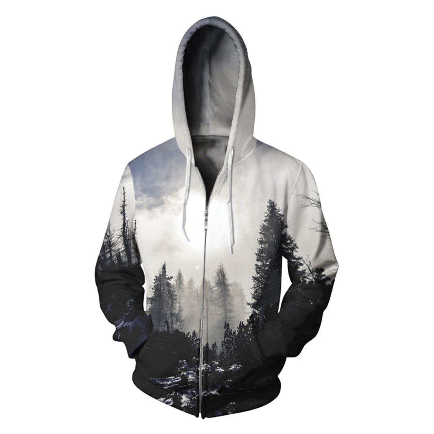 Thadensama 2017 Foggy Forest Printed Mens Hoodies Autumn Hoodie Hip Hop Hipster Casual Men Sweatshirts