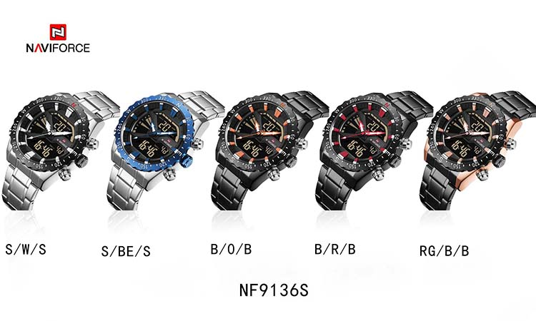 NAVIFORCE Watches Men's Quartz Luxury Brand Full Steel Watch Men Army Military Sport Watch Digital LED Clock relogio masculino