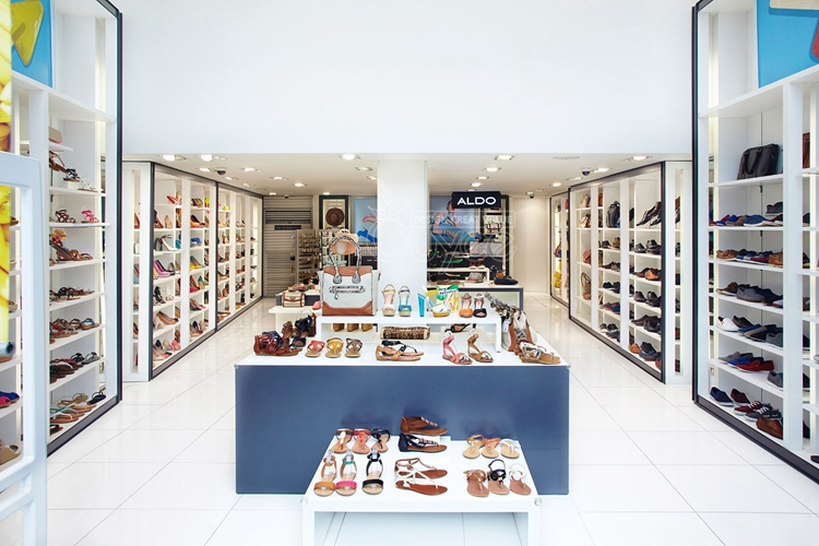 Wood Shoes Display Furniture For Retail Shop Decoration