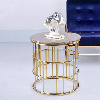 Round Gold Marble Side Table Stainless Steel Tall Sofa Coffee