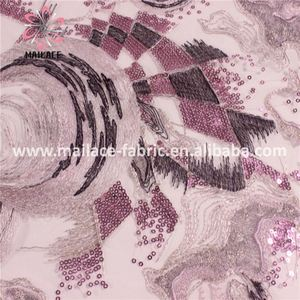 Good Quality Crystal Tulle Fabric Lace Pearl Beads Embroidery Designs Lace Sequin Fabric