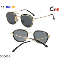 New design steam punk man woman cool sunglasses nice tr90 and metal frame polarized clip sunglasses for two kind of use