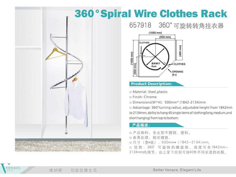 Wardrobe Closet Accessories Metal Spiral Clothes Rack Hanger