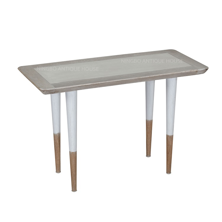 Retro Style Mid Century Modern Replica Home Restaurant Antique Furniture Hand Painted Solid Oak Wood Concrete Coffee Table