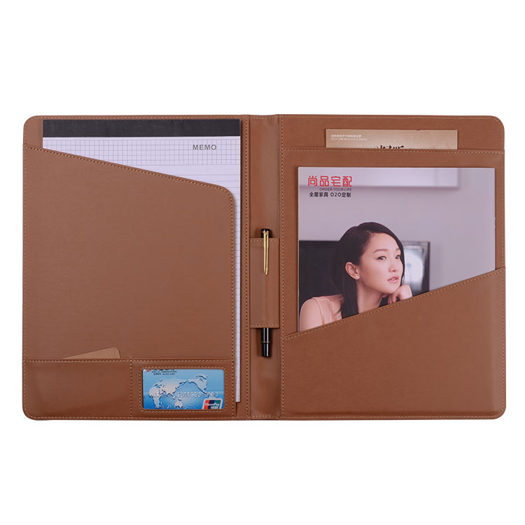 A4 size Brown School Office Use Leather Flat File Folder Fastener