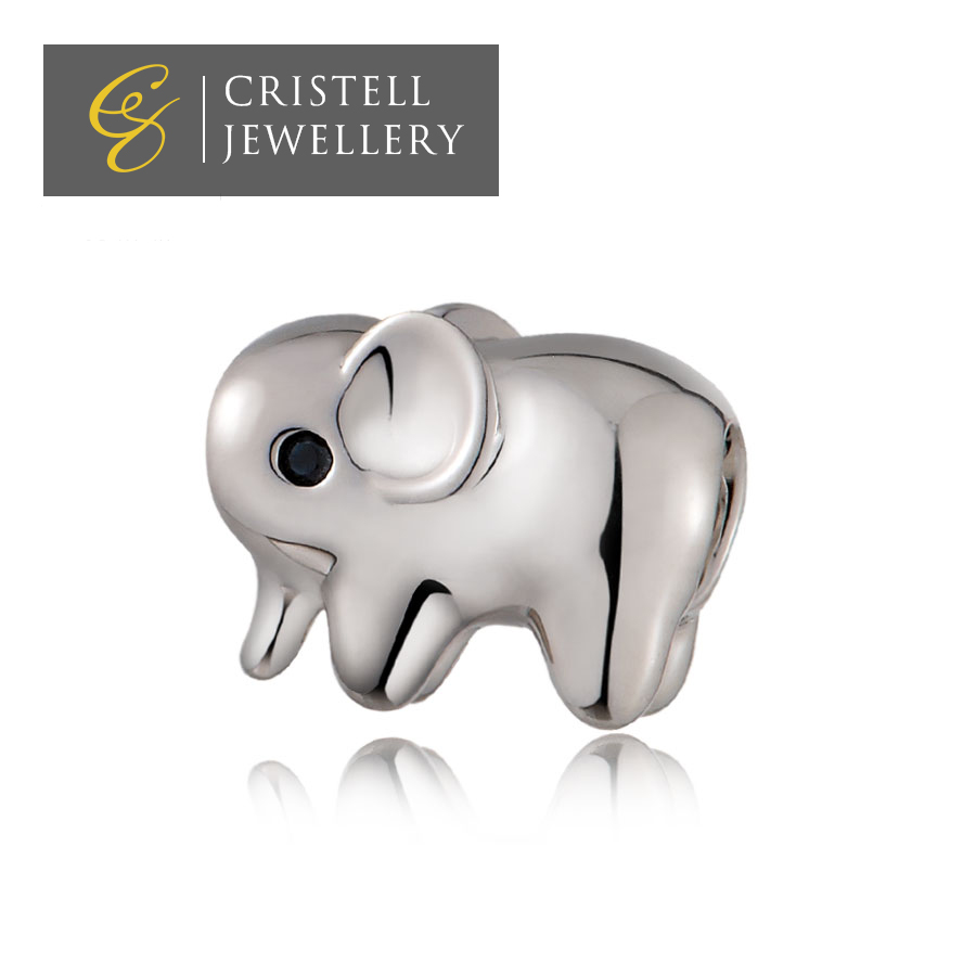 Custom logo engraved animal heavy puffy elephant sterling silver 925 european charms beads jewelry for bracelet charms