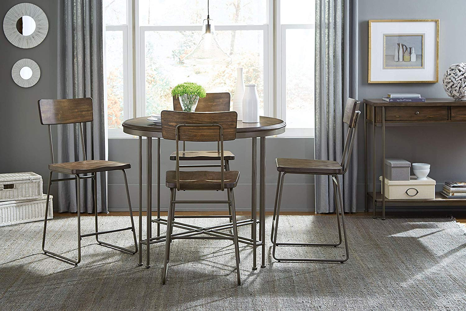 Eslo Bronze Metal Legs Counter Height Dining Set with Table, Four Dining Chairs, and Sideboard
