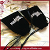 Black drawstring velour drawstring dice bags with white logo