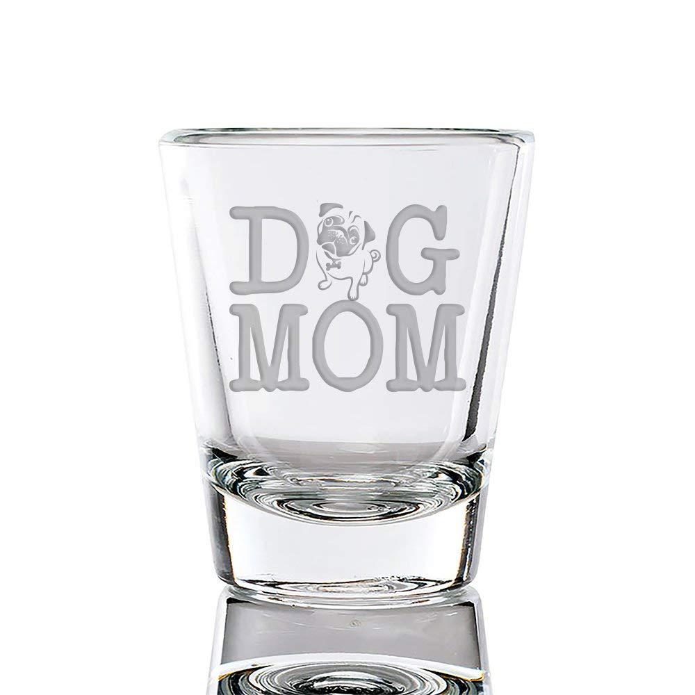 Dog Mom Pug Engraved Fluted Shot Glass